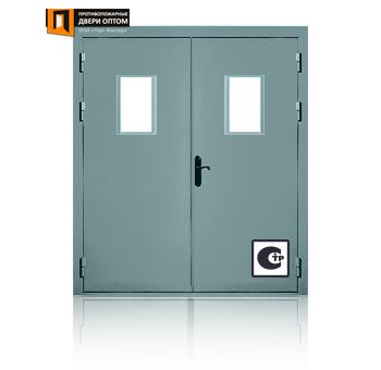 двустворчатая металлическая дверь с окнами